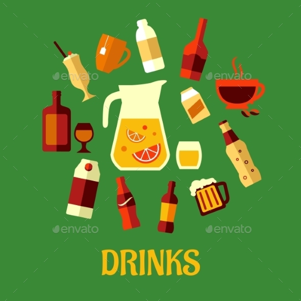 GraphicRiver Flat Assorted Beverages and Drinks 9526995