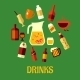 Flat Assorted Beverages and Drinks - GraphicRiver Item for Sale