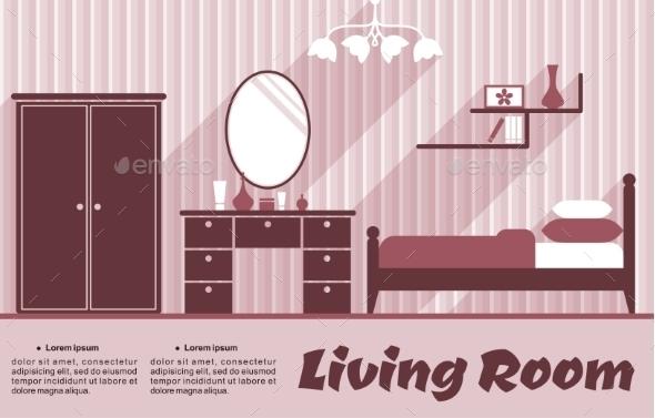 GraphicRiver Living Room Flat Interior 9527020