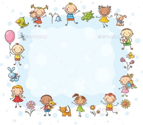 GraphicRiver Frame with Children and Flowers 9527110