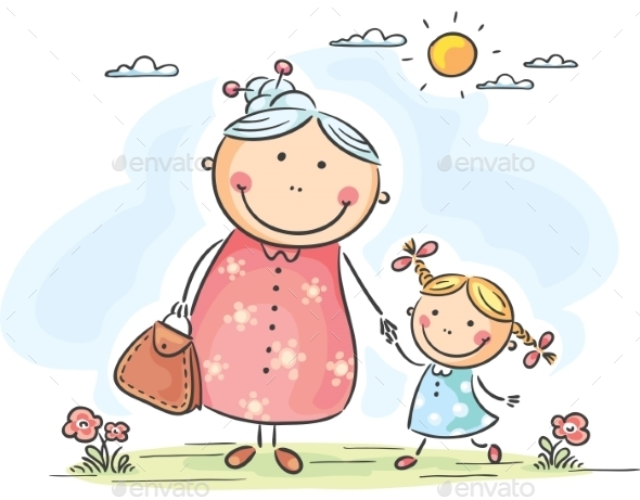 GraphicRiver Girl and her Granny on a Walk 9527146