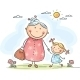 Girl and her Granny on a Walk - GraphicRiver Item for Sale