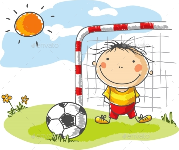 GraphicRiver Boy playing Football as a Goalkeeper 9527149
