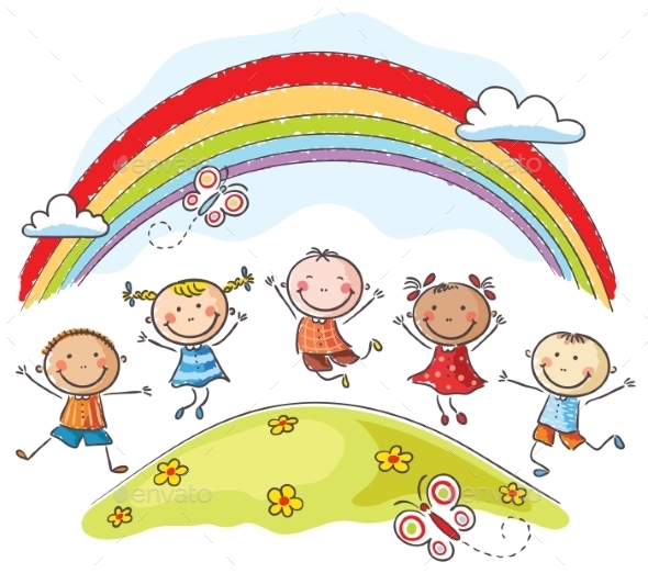 GraphicRiver Kids Jumping Around a Rainbow 9527163