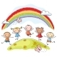 Kids Jumping Around a Rainbow - GraphicRiver Item for Sale