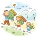 Family hiking in the Mountains - GraphicRiver Item for Sale