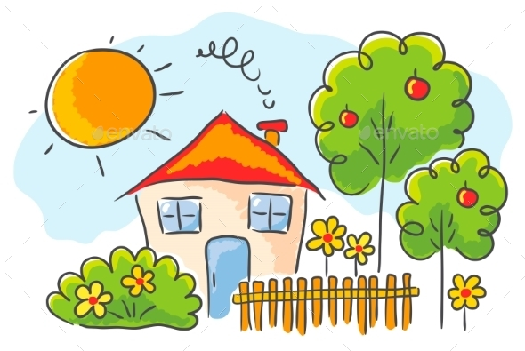 GraphicRiver Childs drawing of a House 9527191