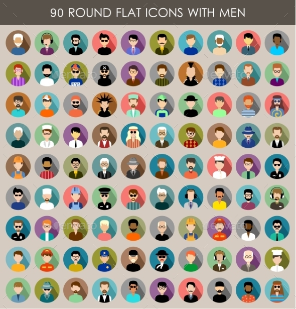 GraphicRiver Set of Round Flat Icons with Men 9527221