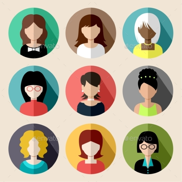 GraphicRiver Set of Round Flat Icons with Women 9527225