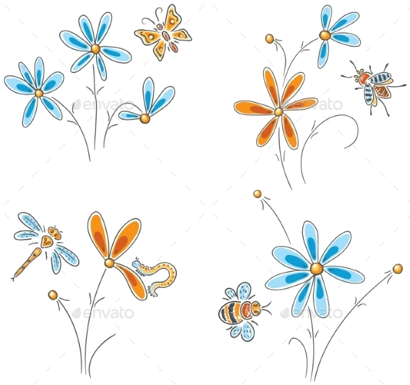 GraphicRiver Flowers with Insects 9527248