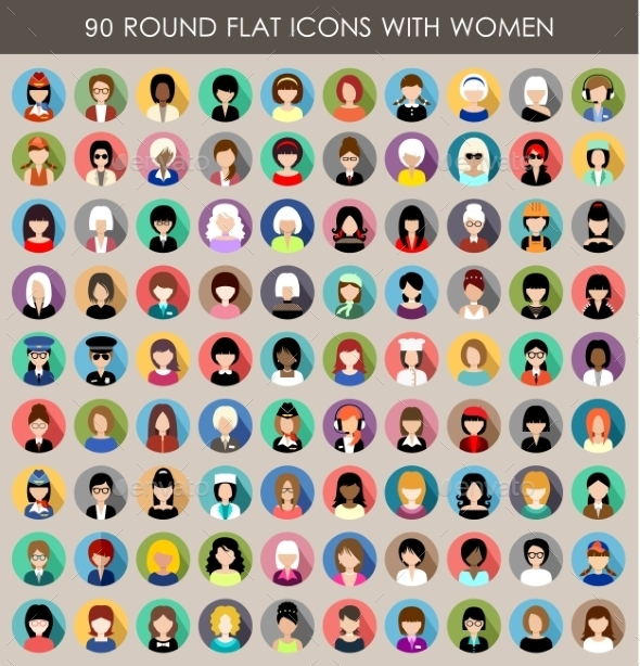 GraphicRiver Set of Round Flat Icons with Women 9527249