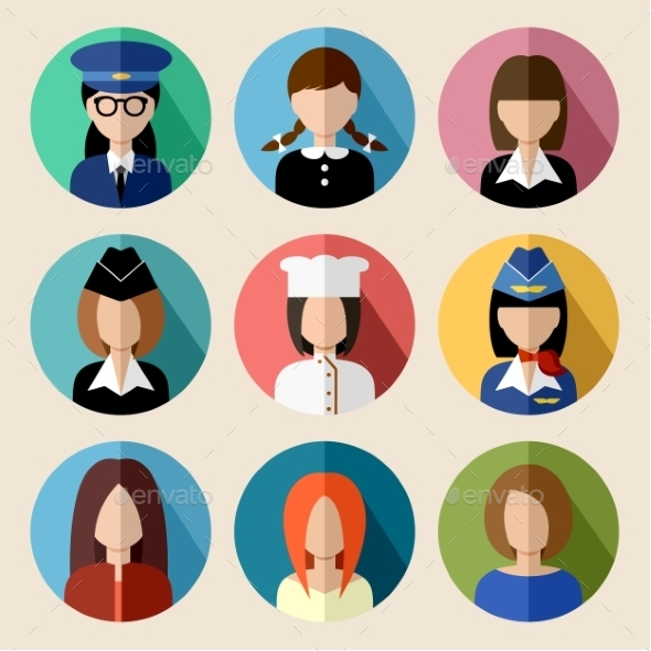 GraphicRiver Set of Round Flat Icons with Women 9527251