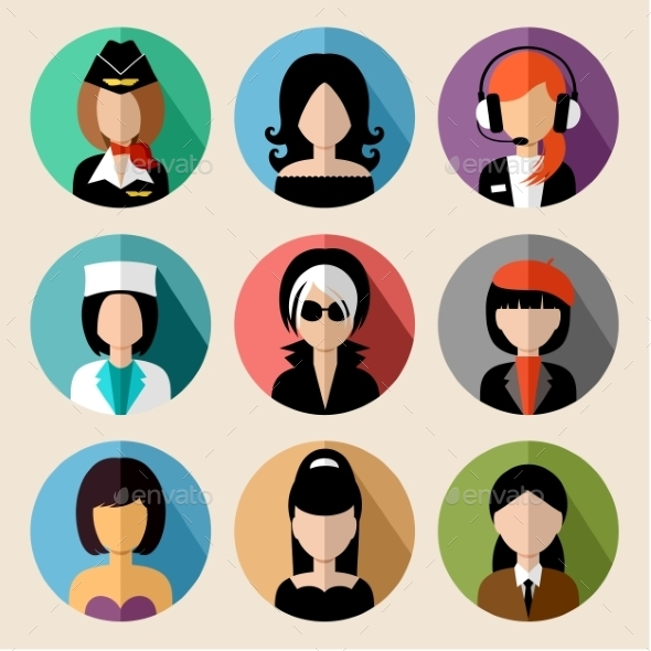 GraphicRiver Set of Round Flat Icons with Women 9527252
