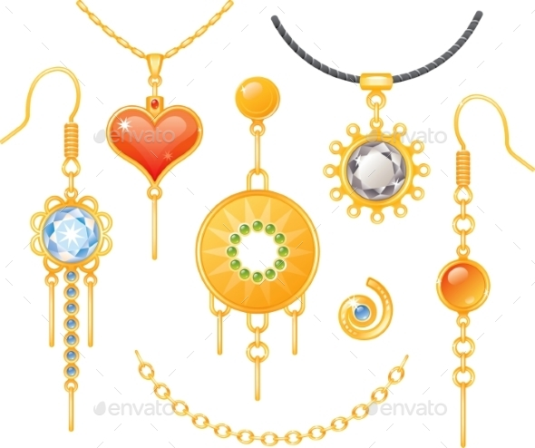 GraphicRiver Set of Earrings and Necklaces 9527253