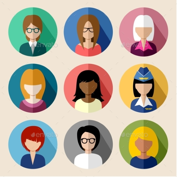 GraphicRiver Set of Round Flat Icons with Women 9527254