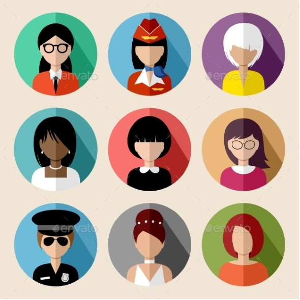 GraphicRiver Set of Round Flat Icons with Women 9527256