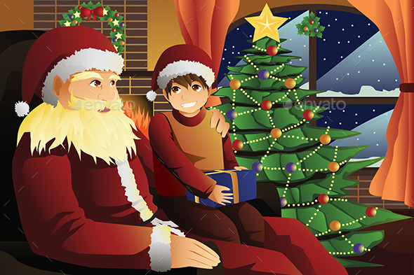 GraphicRiver Santa Claus Talking with a Kid on his Lap 9527805