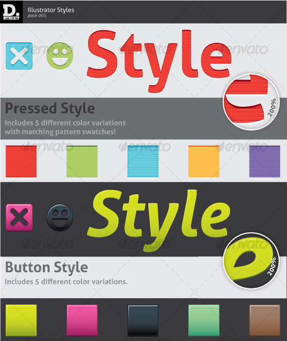 Pressed & Button Illustrator Styles - Styles Illustrator