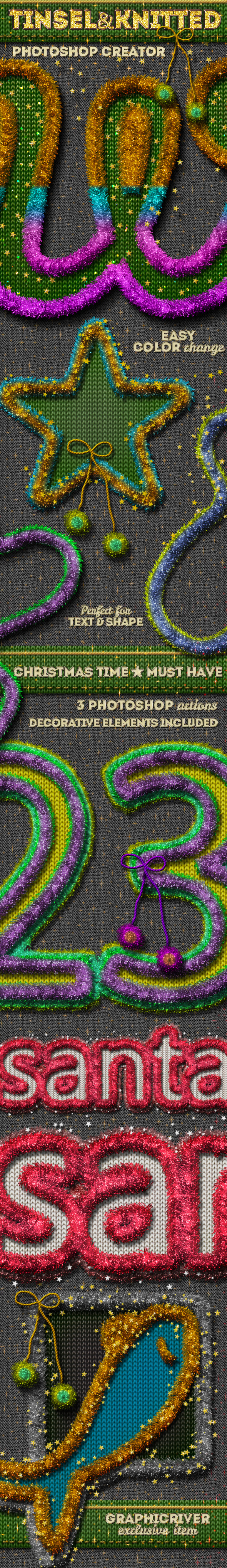 GraphicRiver Christmas Tinsel and Knitted Photoshop Action 9528465