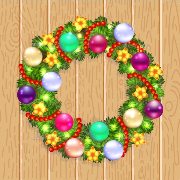 GraphicRiver Christmas Wreath with Fir and Holly 9529267