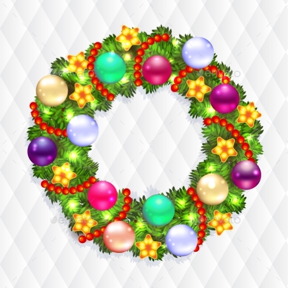 GraphicRiver Christmas Wreath with Fir and Holly 9529280