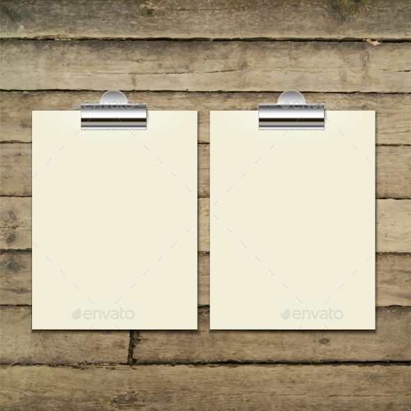 GraphicRiver Paper Sheets on Wooden Tab 9529371