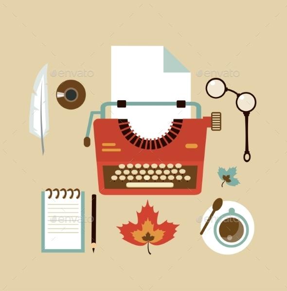 GraphicRiver Desktop Typists Illustration 9529372