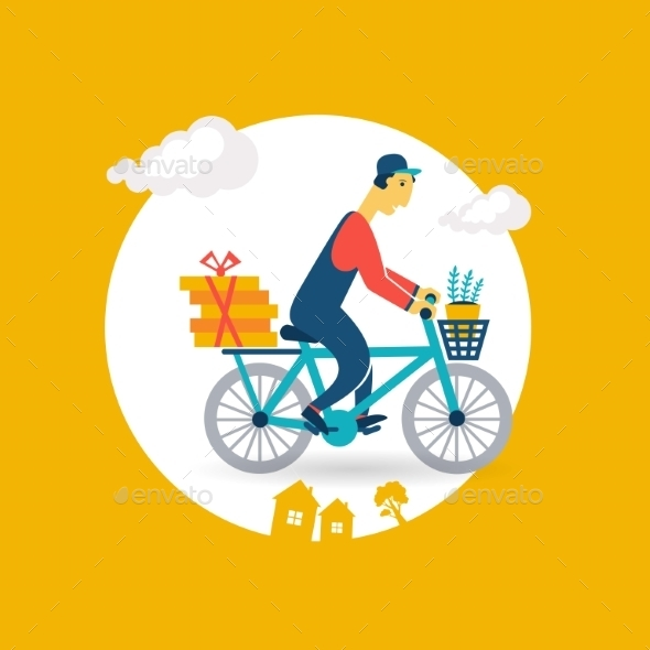 GraphicRiver Courier Rides a Bicycle Icon 9529412