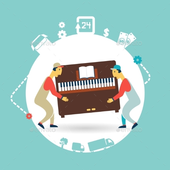 GraphicRiver Movers Carry Furniture Piano Illustration 9529431