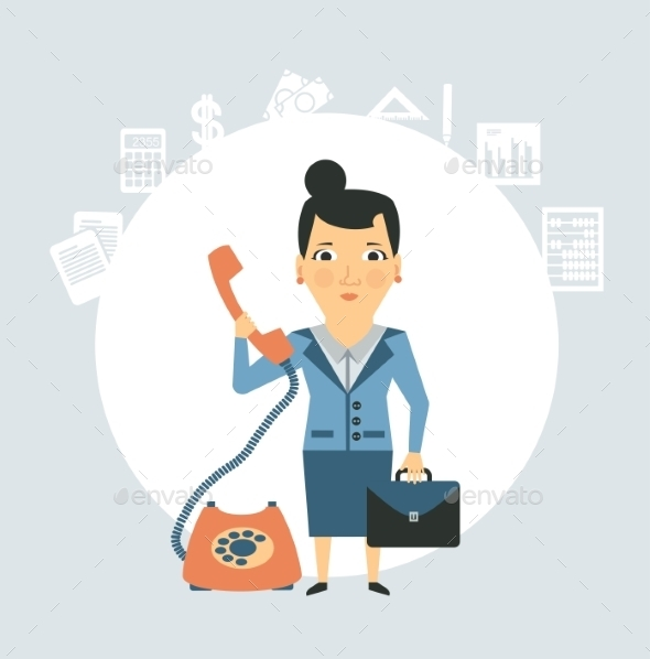 GraphicRiver Accountant Talking on the Phone Illustration 9529445
