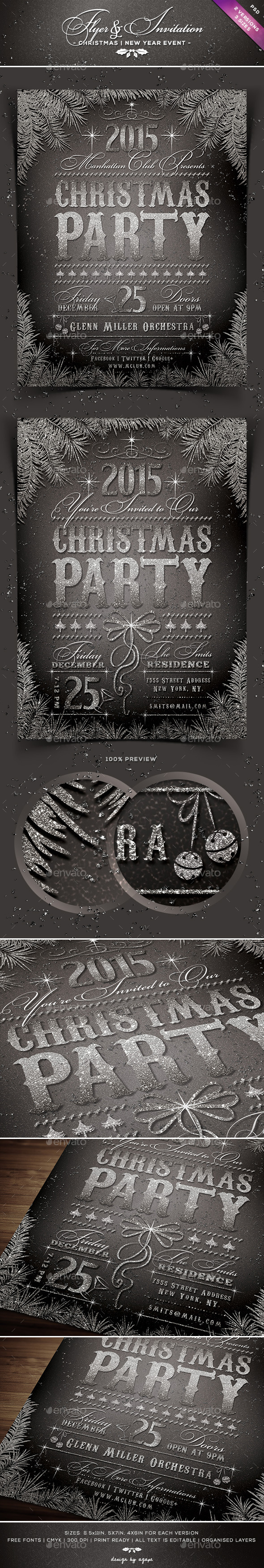 GraphicRiver Sparkly Christmas Event Flyer & Invitation 9529730