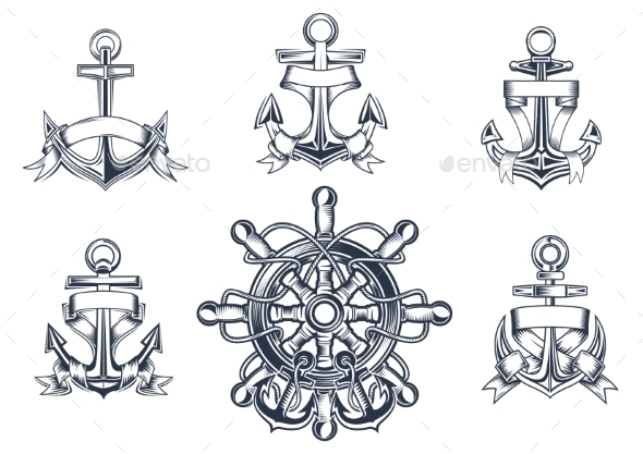 GraphicRiver Vintage Marine and Nautical Icons 9529938
