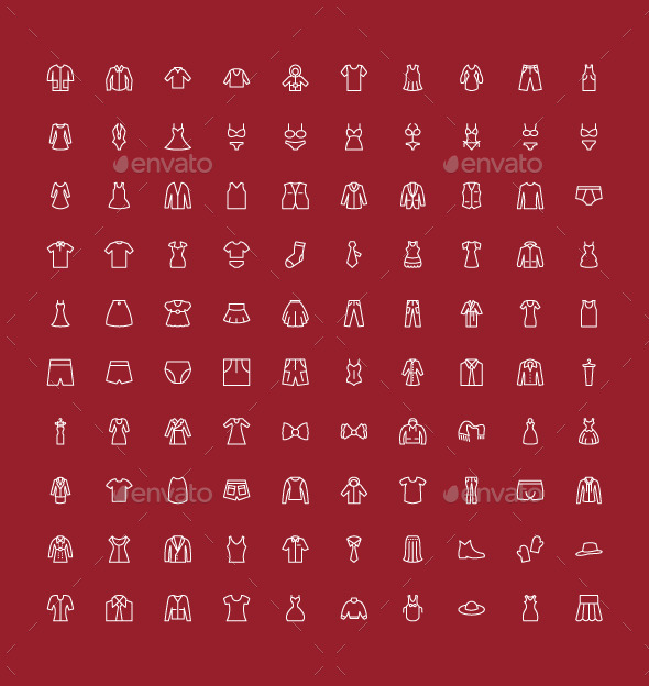 GraphicRiver 100 Men and Women Clothes Icons 9530135