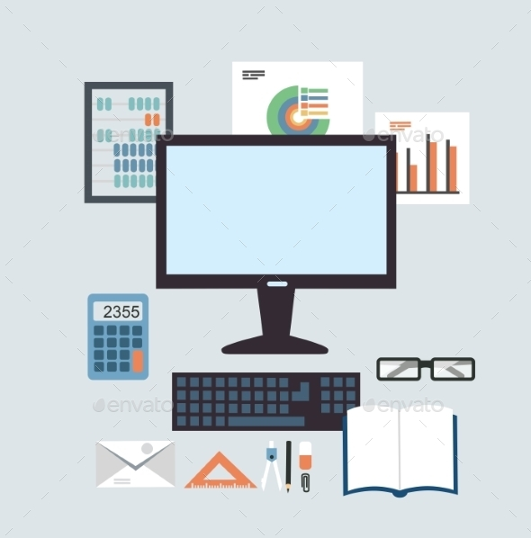 GraphicRiver Desktop Accounting Illustration 9530229
