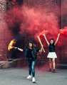 Two Bad girls with Molotov cocktail and red smoke bomb - PhotoDune Item for Sale