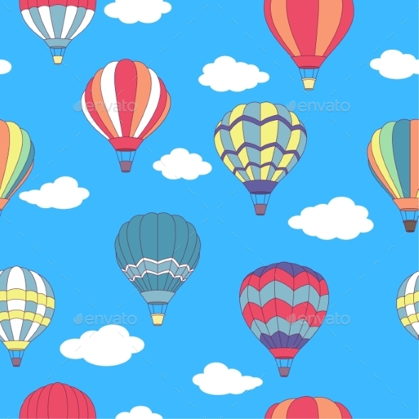 GraphicRiver Seamless Pattern of Hot Air Balloons 9530311