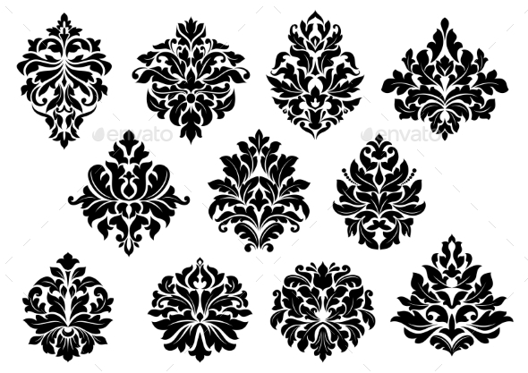 GraphicRiver Set of Floral Motifs 9530447