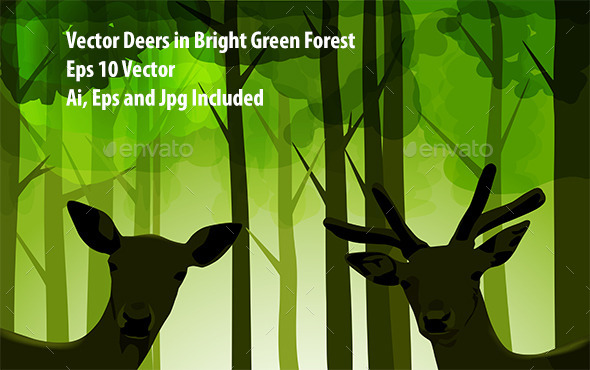 GraphicRiver Forest Deers 9532445