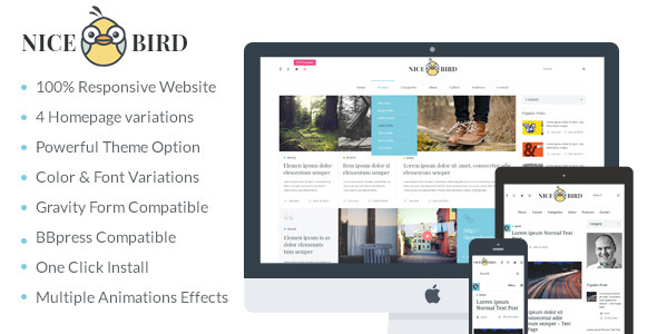 ThemeForest NiceBird- WordPress Blog Themes for Blog Newspaper 9477278
