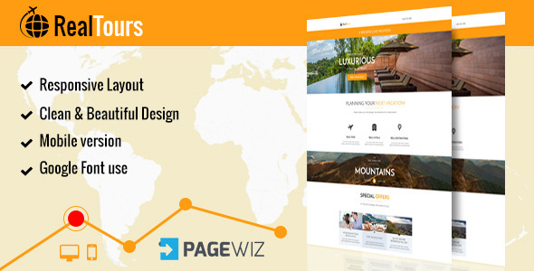 RealTour - Pagewiz Travel & Vacation Landing Page