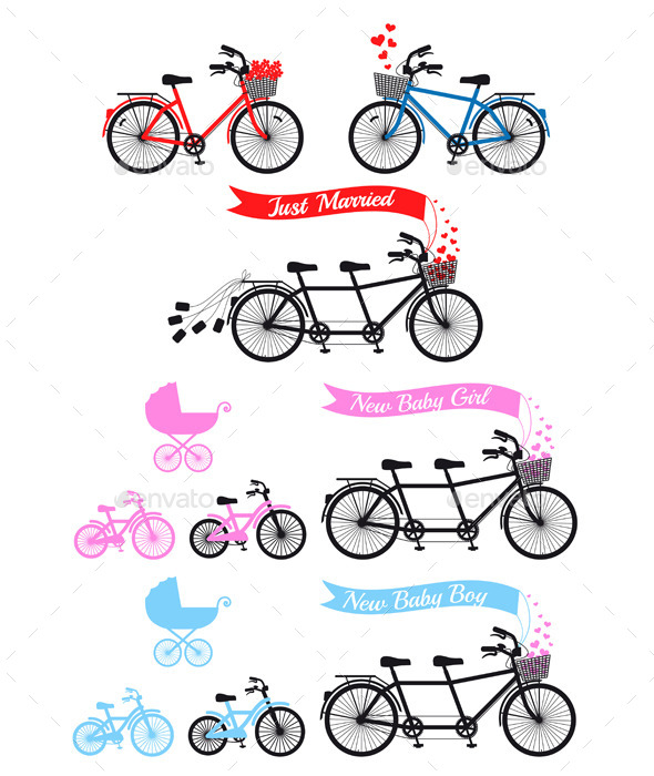 GraphicRiver Baby Shower With Tandem Bicycle 9532906