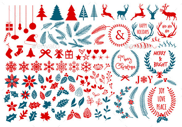 GraphicRiver Christmas Design Elements Set 9532925