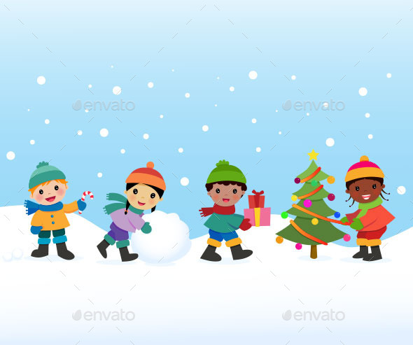 GraphicRiver Children Celebrate the Winter Holidays 9533316