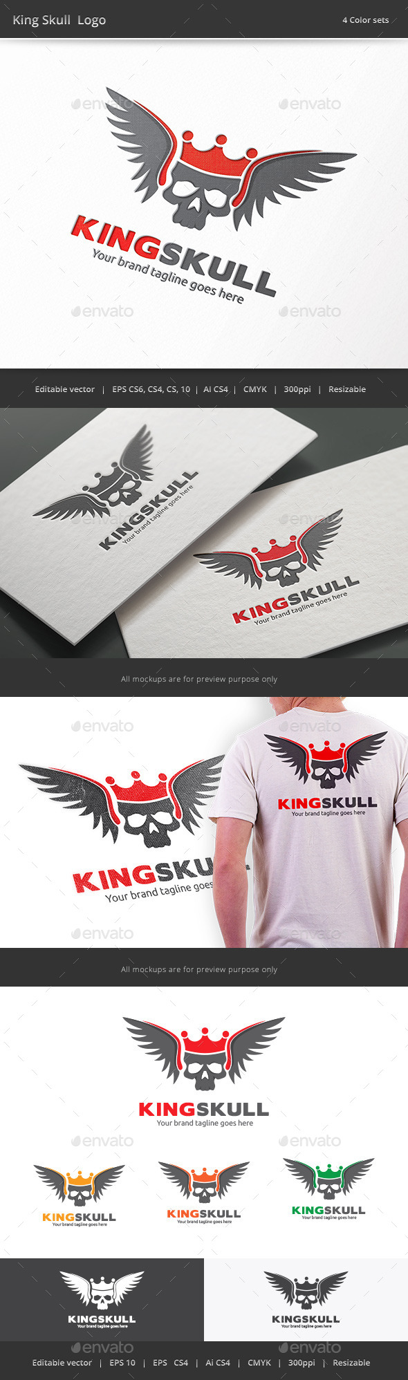 GraphicRiver King Skull Logo 9533896