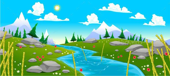 GraphicRiver Mountain Landscape with River 9534288