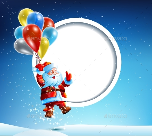GraphicRiver Santa Claus Flies on a Balloon 9534303