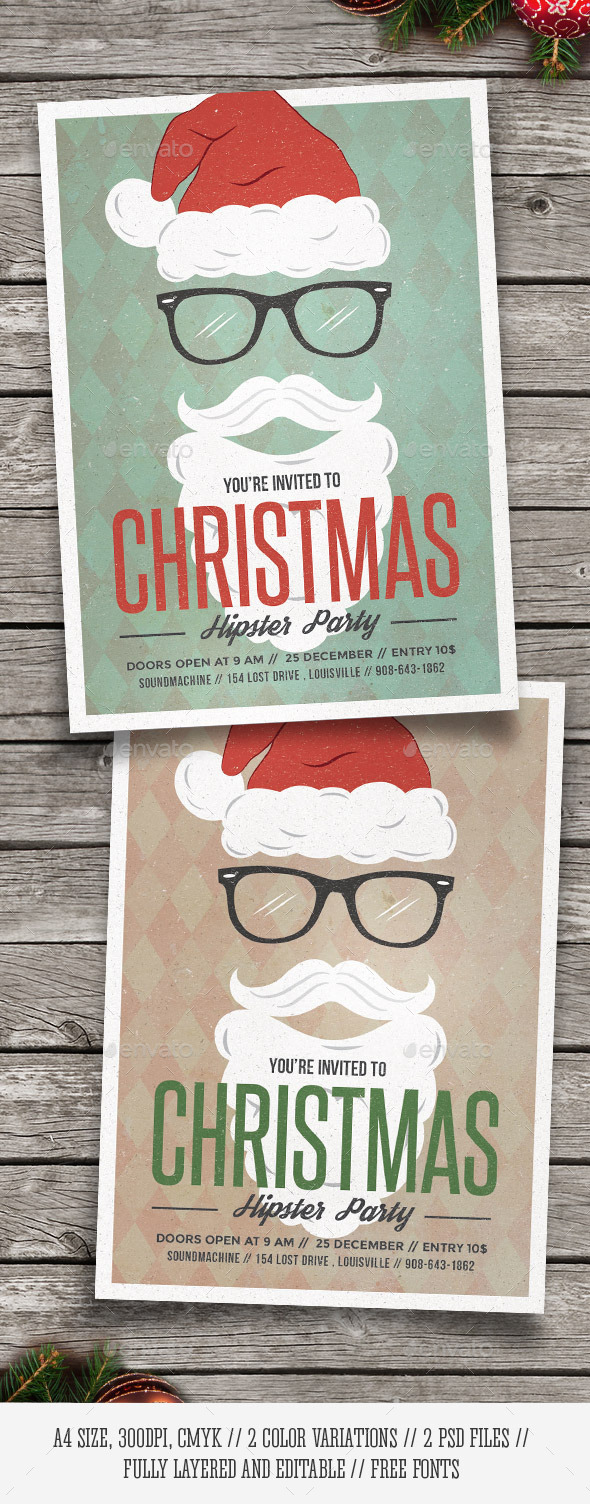 GraphicRiver Hipster Santa Christmas Party Flyer 9534313