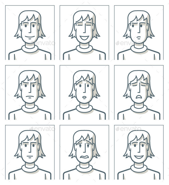 GraphicRiver Facial Expressions of Young Man 9534444