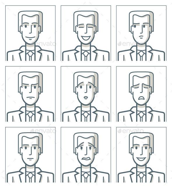 GraphicRiver Facial Expressions of a Businessman 9534699
