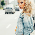 beautiful blonde woman on the street - PhotoDune Item for Sale